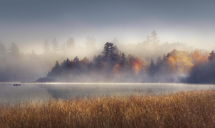 Lake Placid Photograph - Sunrise Boat  by Magda Bognar