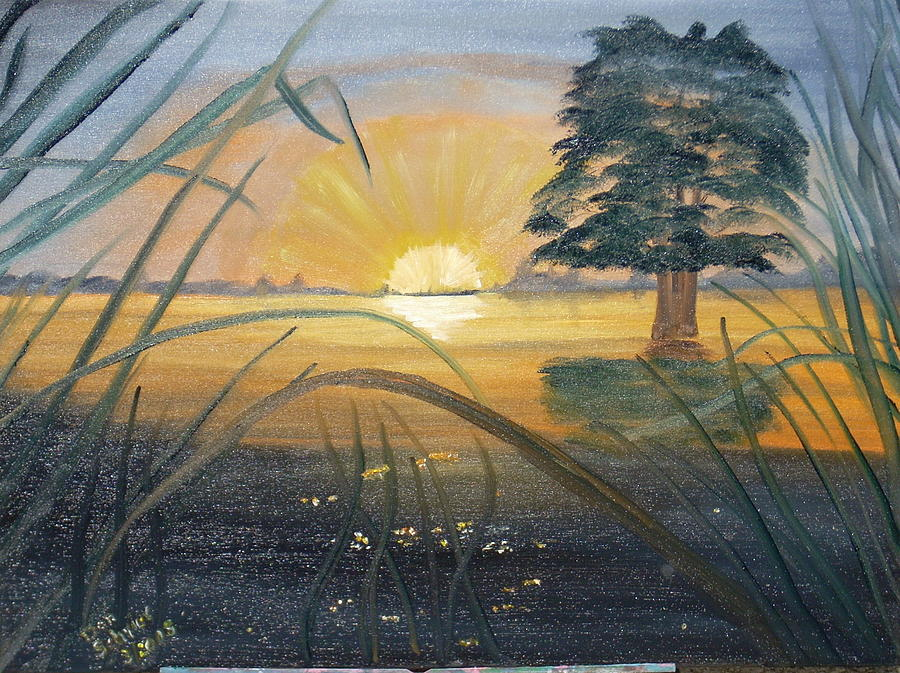 Landscape Painting - Sunrise In Louisiana by Donald Schrier