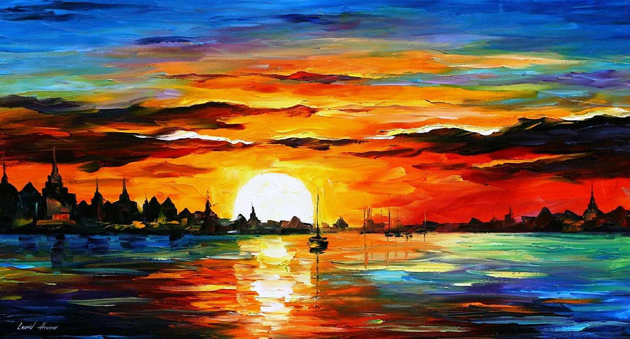 Sunrise In The Harbor Palette Knife Oil Painting On