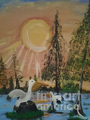 Sunrise In The Pelican State Painting