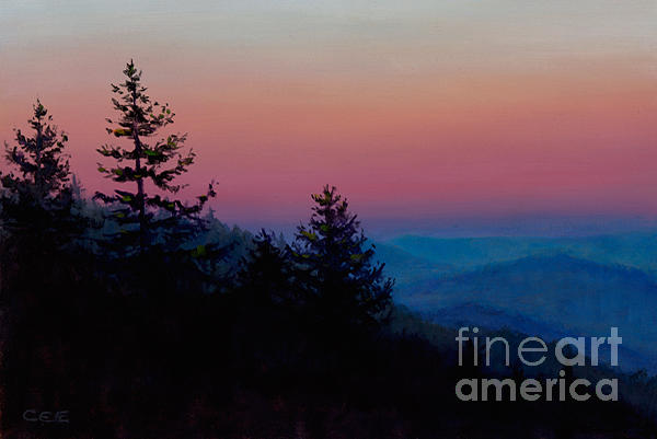 Landscape Painting - Sunrise In The Smokies by Christa Eppinghaus