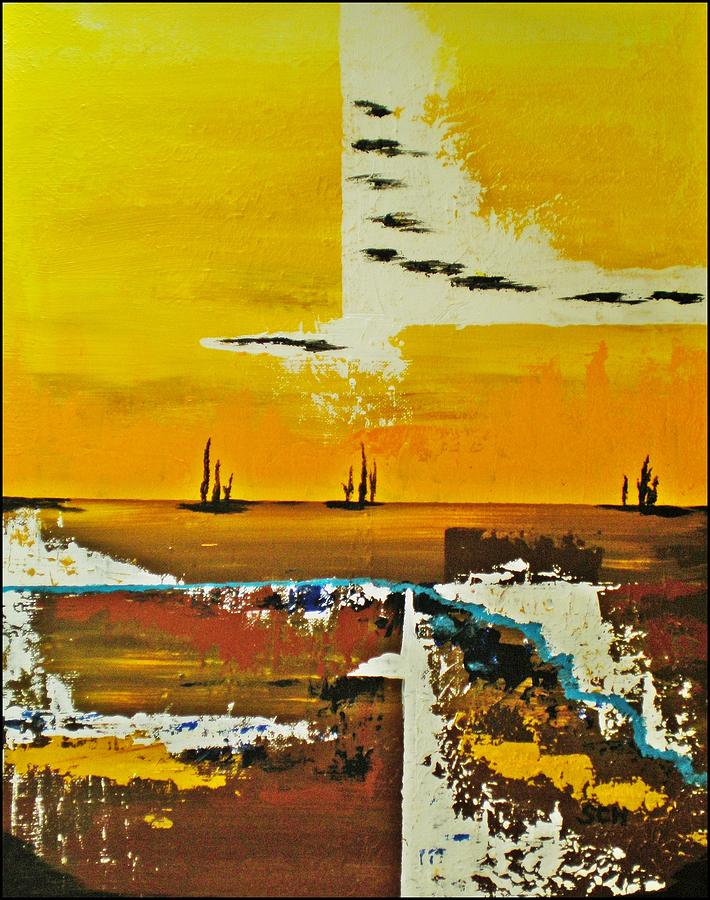 Abstract Mixed Media - Sunrise In The West by Scott Haley