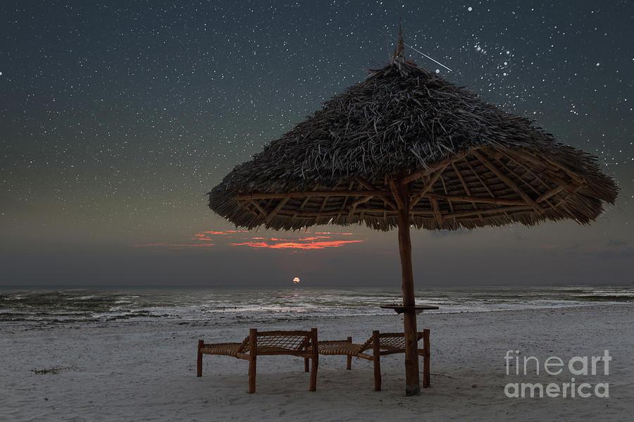 Starry Sky Photograph - Sunrise In Tropical Beach Of Zanzibar With Starry Sky by Pier Giorgio Mariani