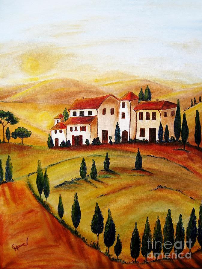 Sunrise Painting - Sunrise In Tuscany by Christine Huwer