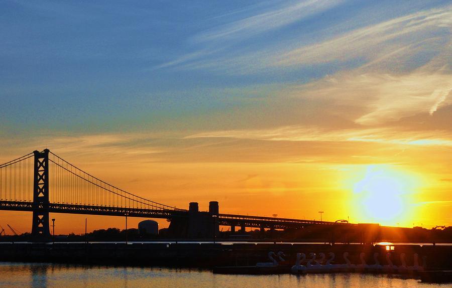 Sunrise Photograph - Sunrise On Ben Franklin Bridge by Andrew Dinh