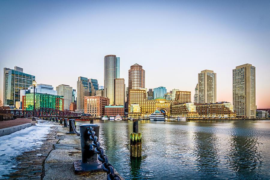 Boston Photograph - Sunrise on Boston Harbor by Bob Bernier