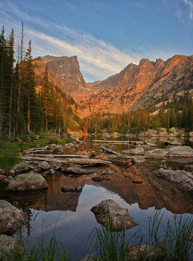 Sunrise on Dream Lake by Kevin Schwalbe