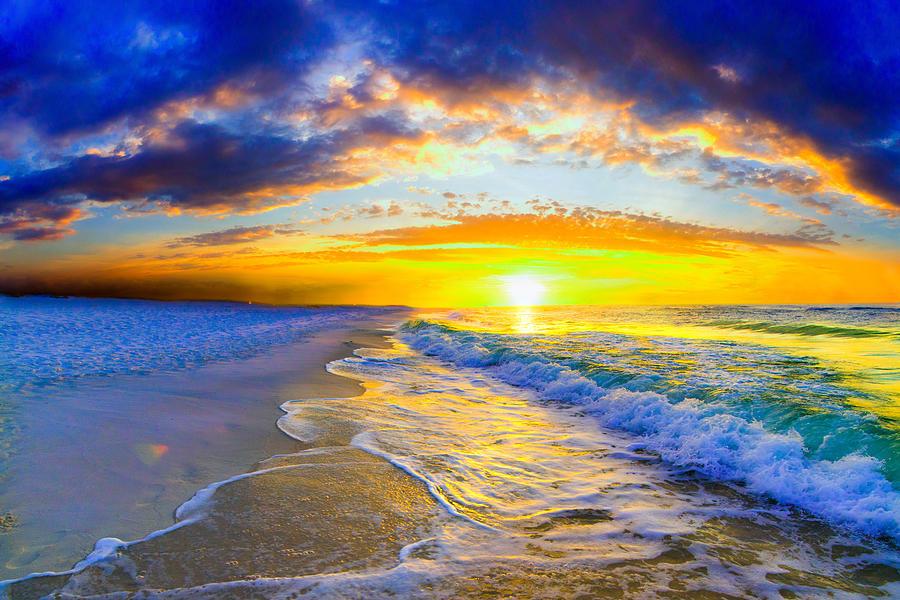 Sunrise On Ocean Photograph - Sunrise On Ocean Waves Beautiful Orange Sunrise by Eszra Tanner