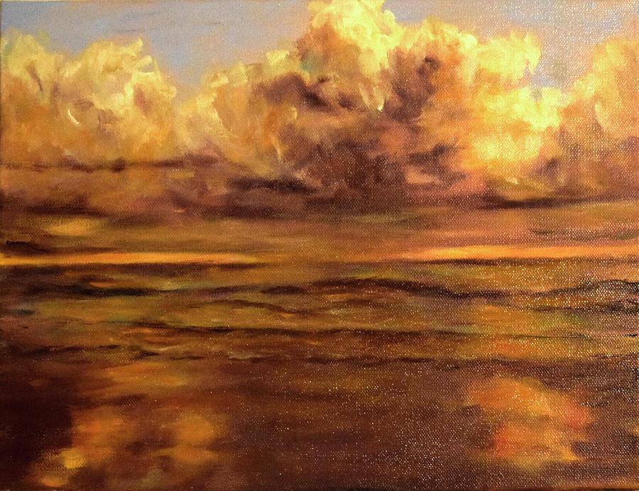 Sunrise on Stormy Beach by Sandra Nardone