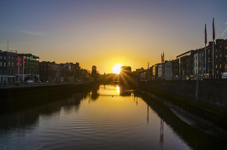 sunrise on the liffey river dublin ireland photograph by bill cannon