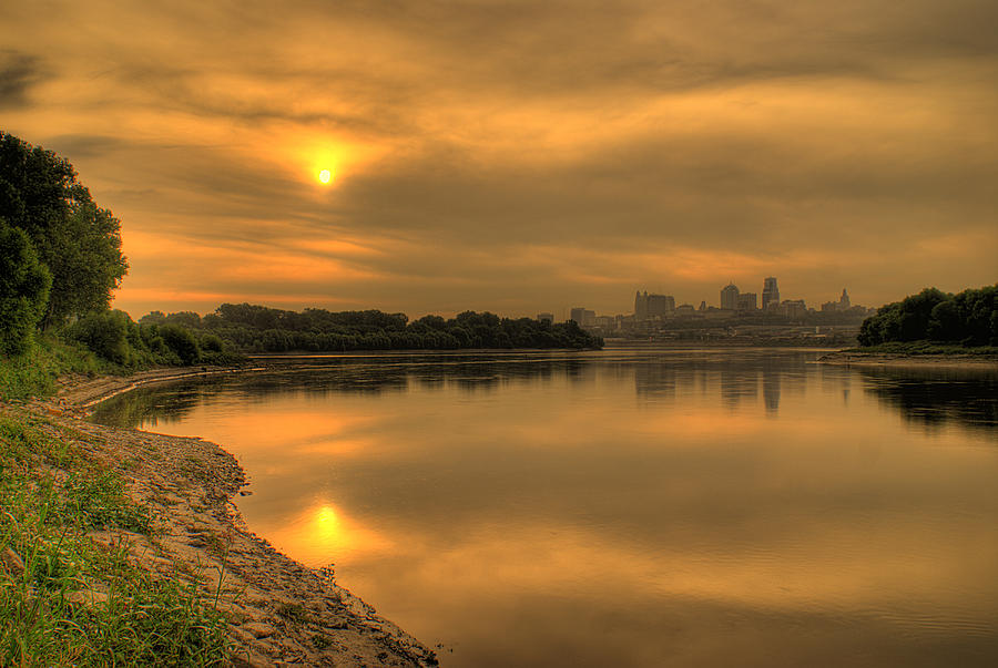 Missouri River Photograph - Sunrise On The Missouri River by Don Wolf