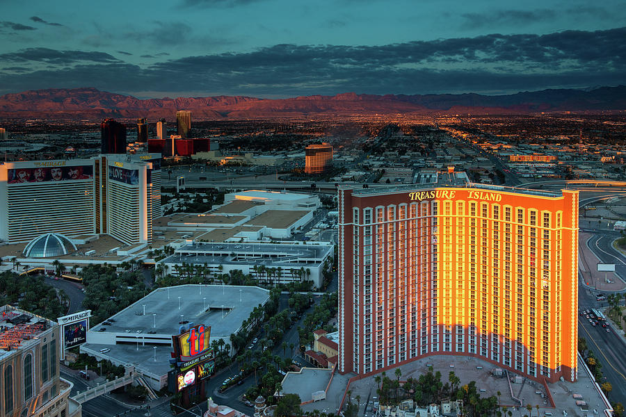 Sunrise on the Sierra Nevada Mountains and the Hotels on the Las Vegas Strip by Ami Parikh