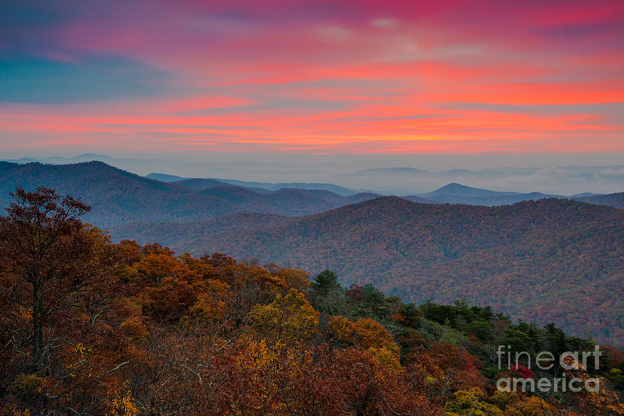 Sunrise Photograph - Sunrise Over Blue Ridge Parkway. by Itai Minovitz