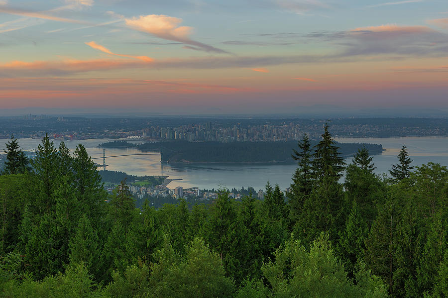 Vancouver Photograph - Sunrise over City of Vancouver BC Canada by David Gn