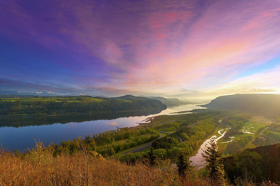 Columbia Photograph - Sunrise Over Columbia River Gorge by David Gn
