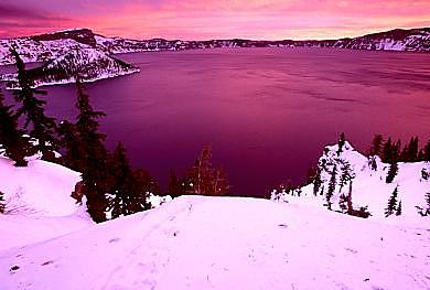 Winter Time Photograph - Sunrise Over Crater Lake by Floyd Bond
