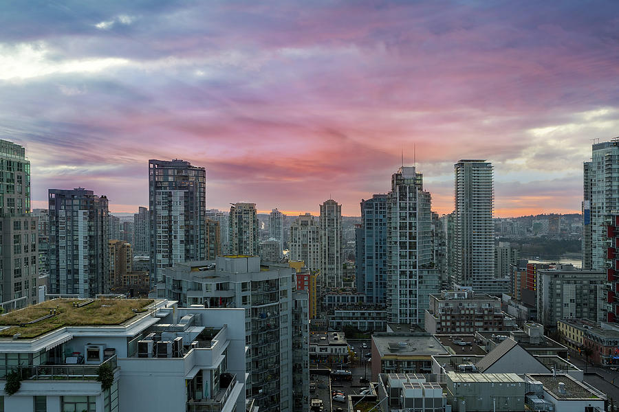 Sunrise Photograph - Sunrise Over Downtown Vancouver Bc by David Gn