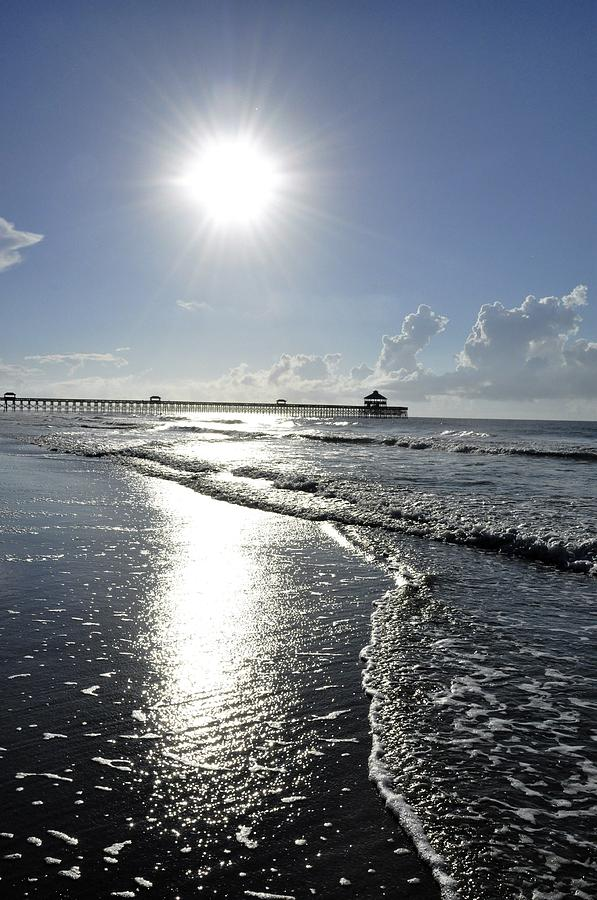 Sunrise Photograph - Sunrise Over Folly Beach Pier by Sally Falkenhagen