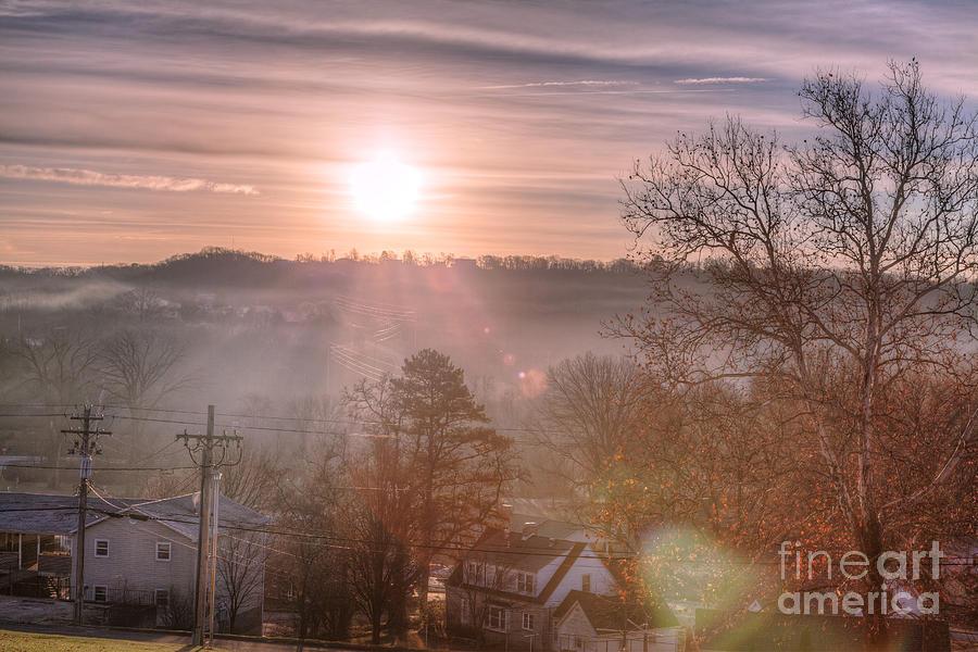 2015 Photograph - Sunrise over Hermann by Larry Braun