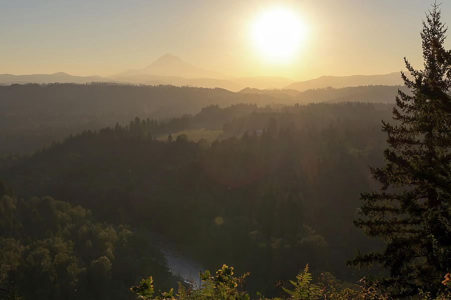 Sunrise Photograph - Sunrise Over Mount Hood And Sandy River by David Gn