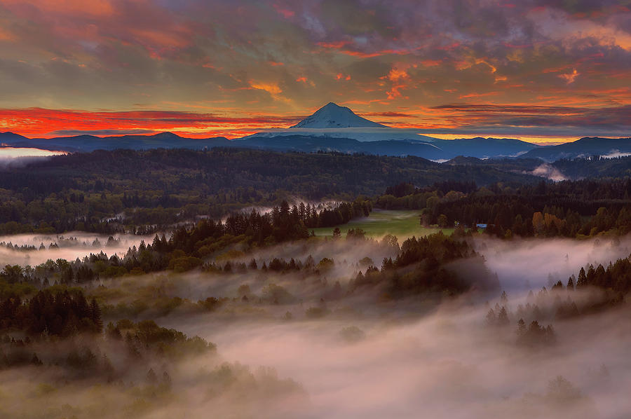 Sunrise Photograph - Sunrise Over Mount Hood And Sandy River Valley by David Gn