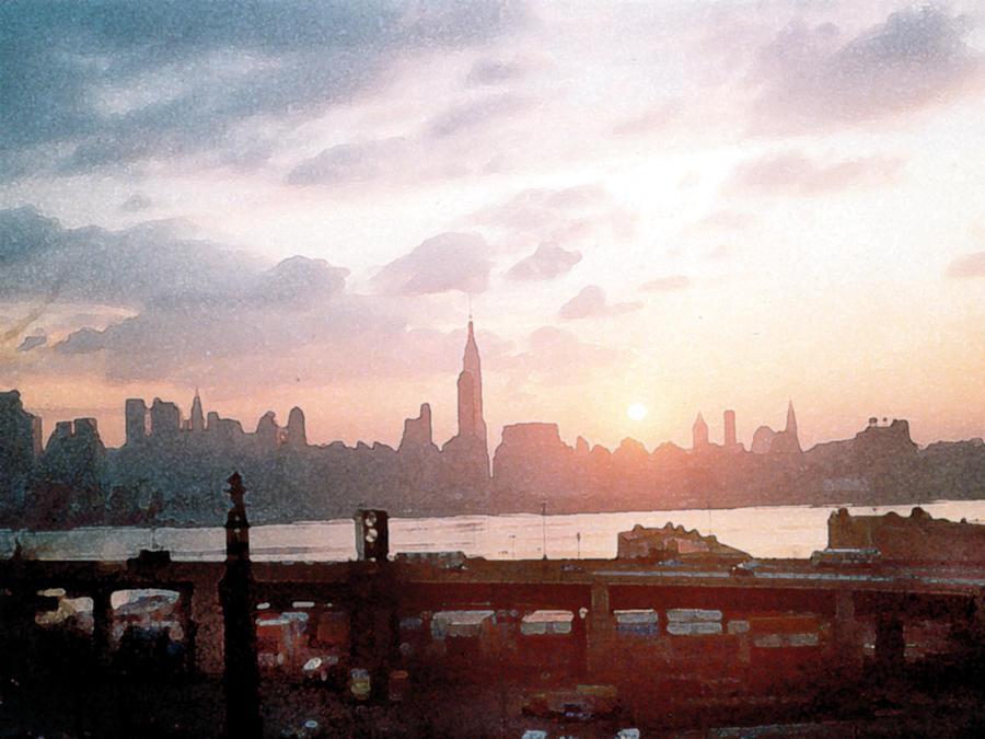 City Painting - Sunrise Over Nyc by Paul Sachtleben