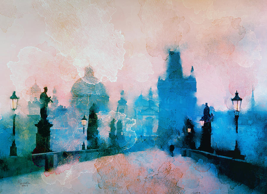 Prague Painting - Sunrise over Prague by Rosalina Atanasova