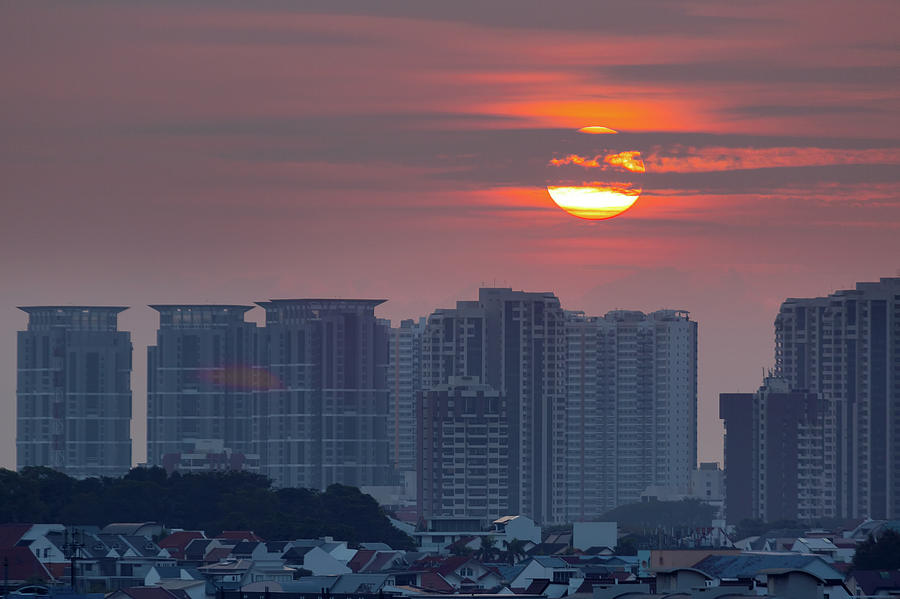 Sun Photograph - Sunrise over Singapore Residential Neighborhood by David Gn