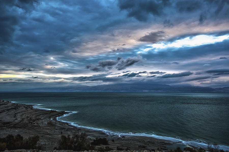 Cloud Photograph - Sunrise Over The Dead Sea Israel by Reynold Maines