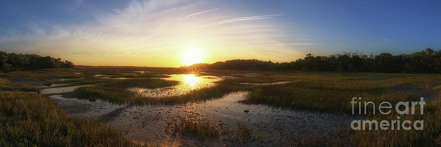 Sunrise Over The Marsh Pano Photograph
