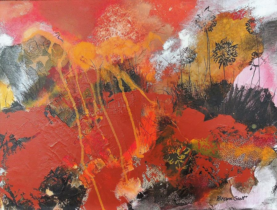 Mixed Media Collage Mixed Media - Sunrise Over the Thicket by Jo Ann Brown-Scott