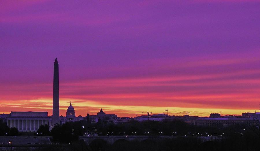 Sunrise Photograph - Sunrise over Washington DC  by Christopher Fukuda