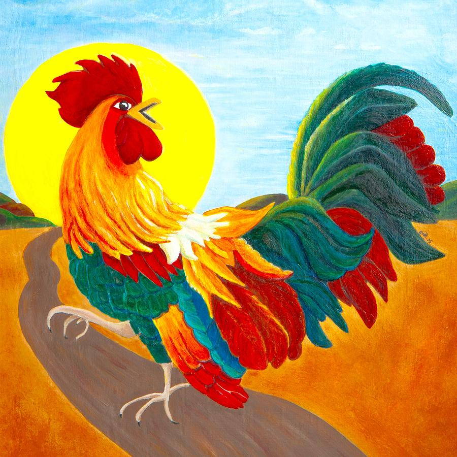 Sunrise Rooster Painting By Anne Kibbe