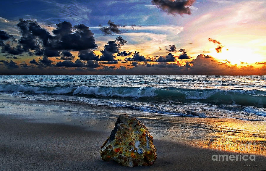 Beach Photograph - Sunrise Seascape Wisdom Beach Florida C3 by Ricardos Creations