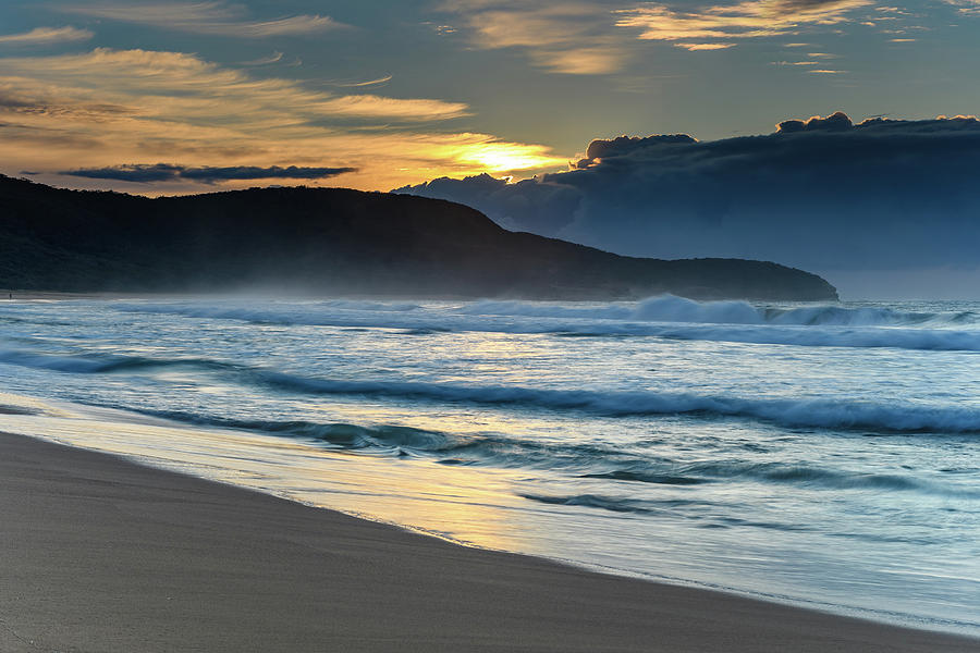 Australia Photograph - Sunrise Seascape With Headland And Clouds by Merrillie Redden