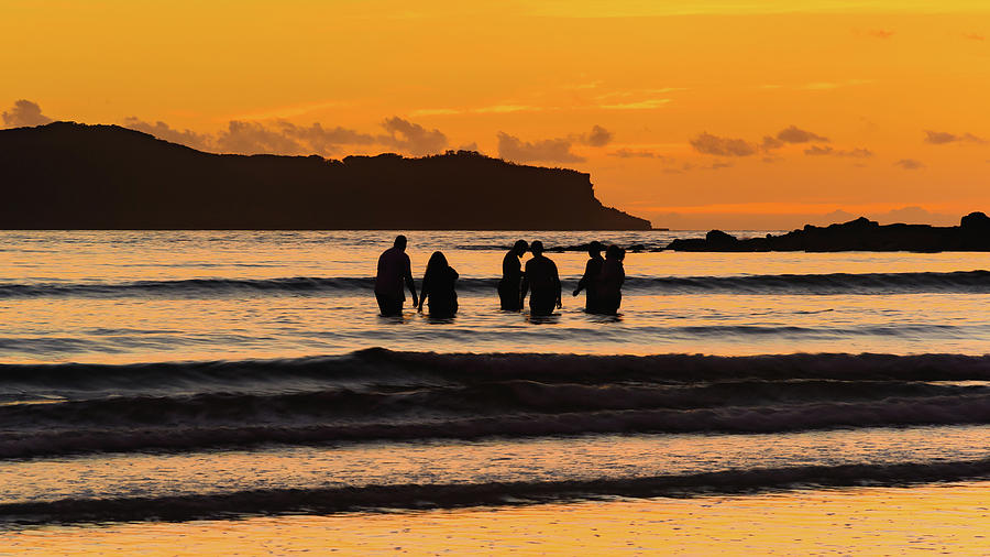 Umina Beach Photograph - Sunrise Seascape With People Silhouettes by Merrillie Redden