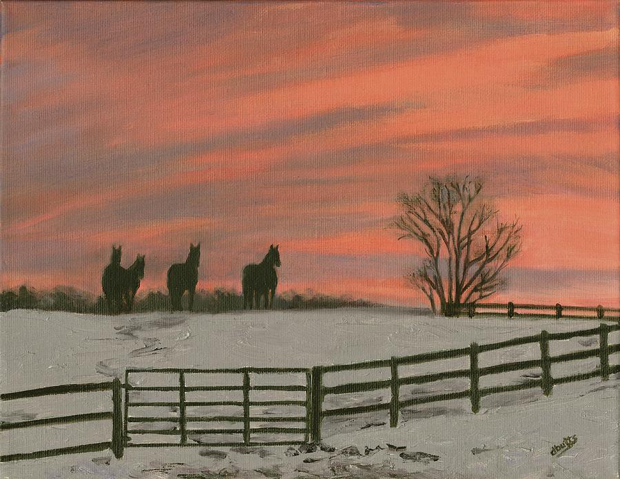Sunrise Painting - Sunrise Silhouettes by Deborah Butts