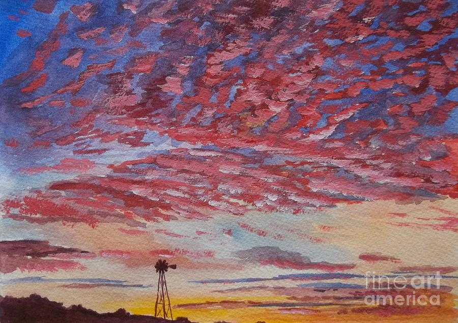 Landscape Painting - Sunrise / Sunset by Don Hand