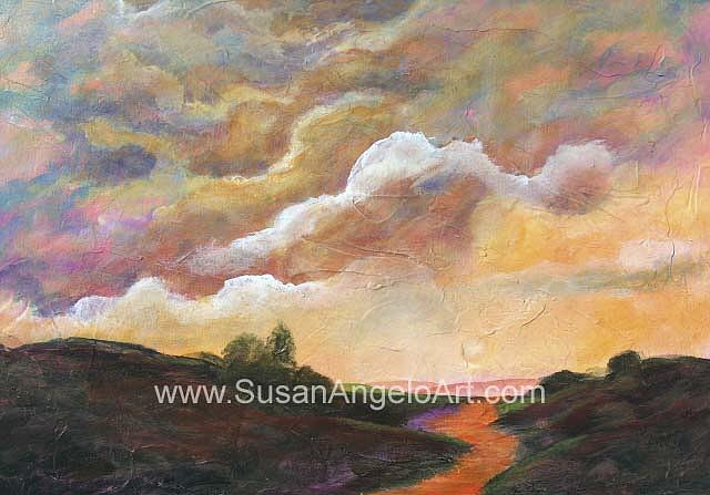 Landscape Painting - Sunrise Sunset by Susan-Angelo  DeBay