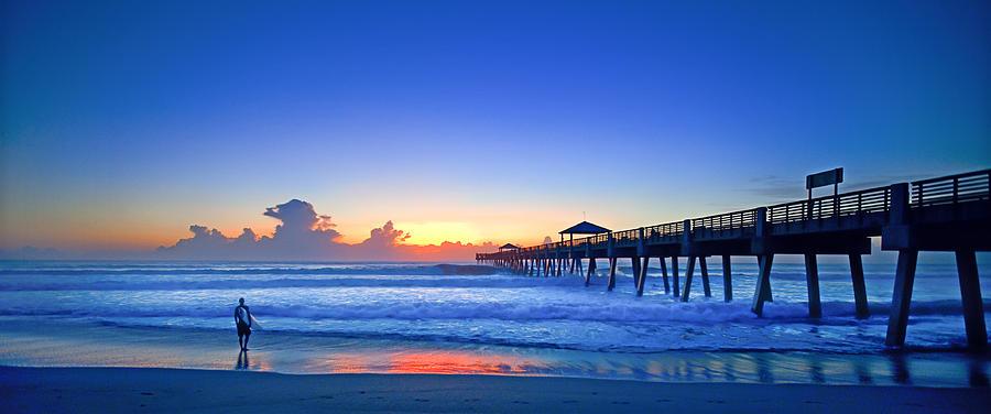 Sunrise Surfer At Pier - 4953 Photograph