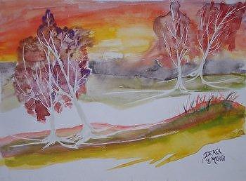 Impressionistic Painting - SUNRISE surreal modern landscape painting fine art poster print by Derek Mccrea