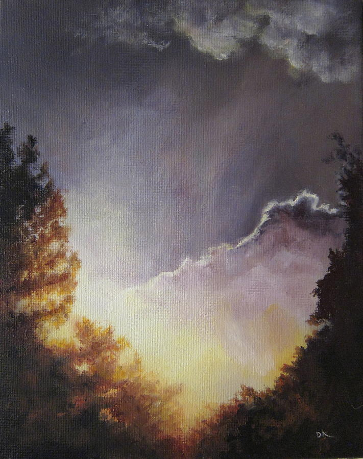 Trees Painting - Sunrise Through The Pines by Diane Kraudelt