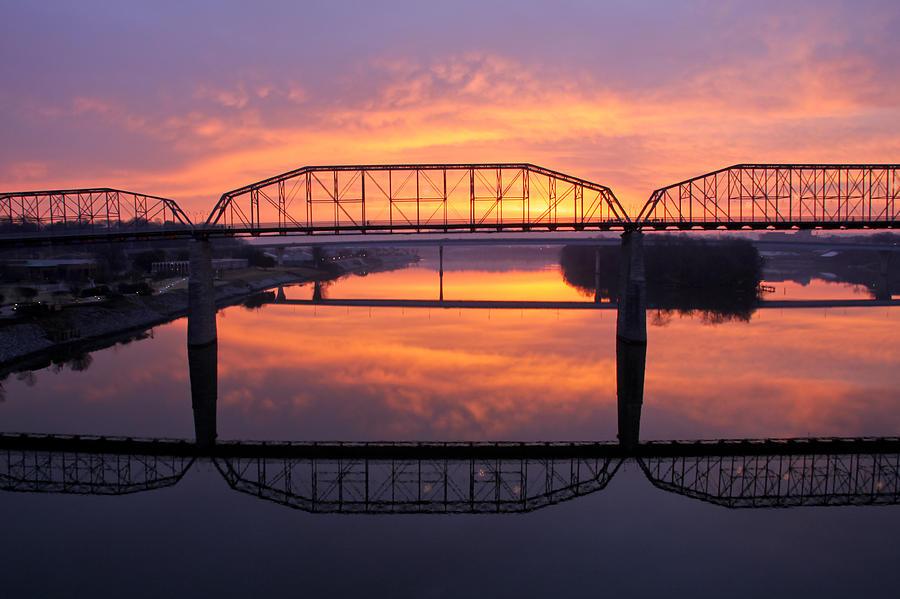Walnut Street Bridge Photograph - Sunrise Walnut Street Bridge 2 by Tom and Pat Cory
