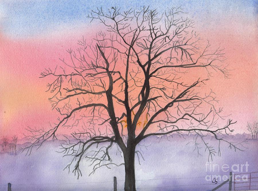 Sunrise Walnut Tree 2 Watercolor Painting Painting