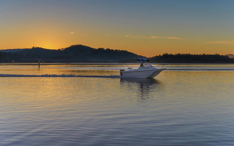 Australia Photograph - Sunrise Waterscape And Boat On The Bay by Merrillie Redden