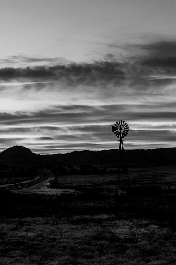 Sunrise Windmill Bw 12-25-2015 Photograph