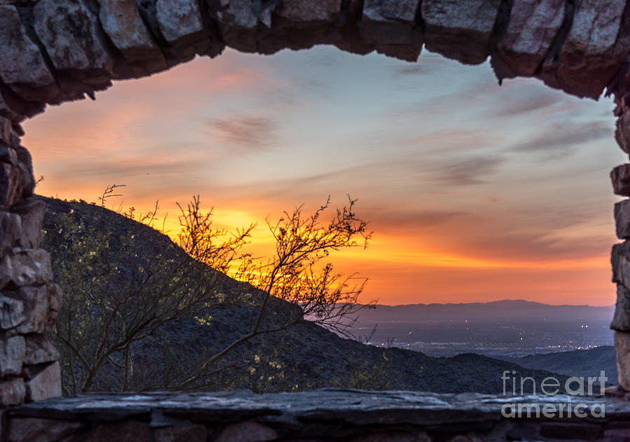 Landscape Photograph - Sunrise Window - Phoenix Arizona by Leo Bounds