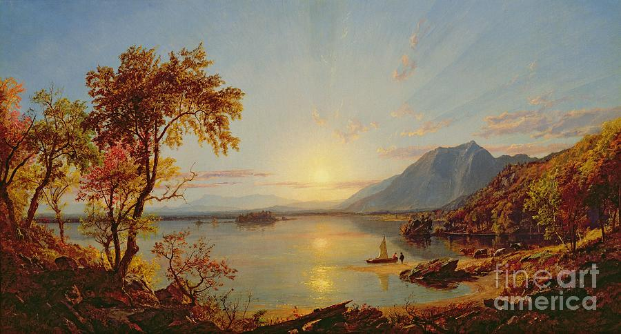 Cropsey Painting - Sunset  Lake George by Jasper Francis Cropsey