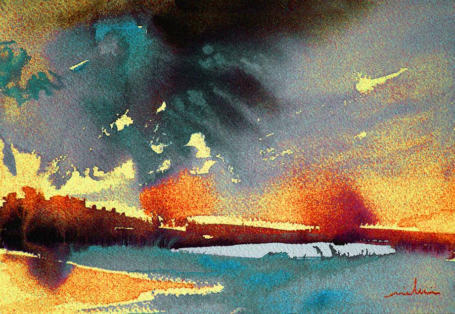 Watercolour Landscape Painting - Sunset 08 by Miki De Goodaboom