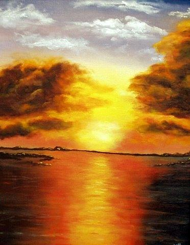 Oil Painting Painting - Sunset 2 by Ron Wieder